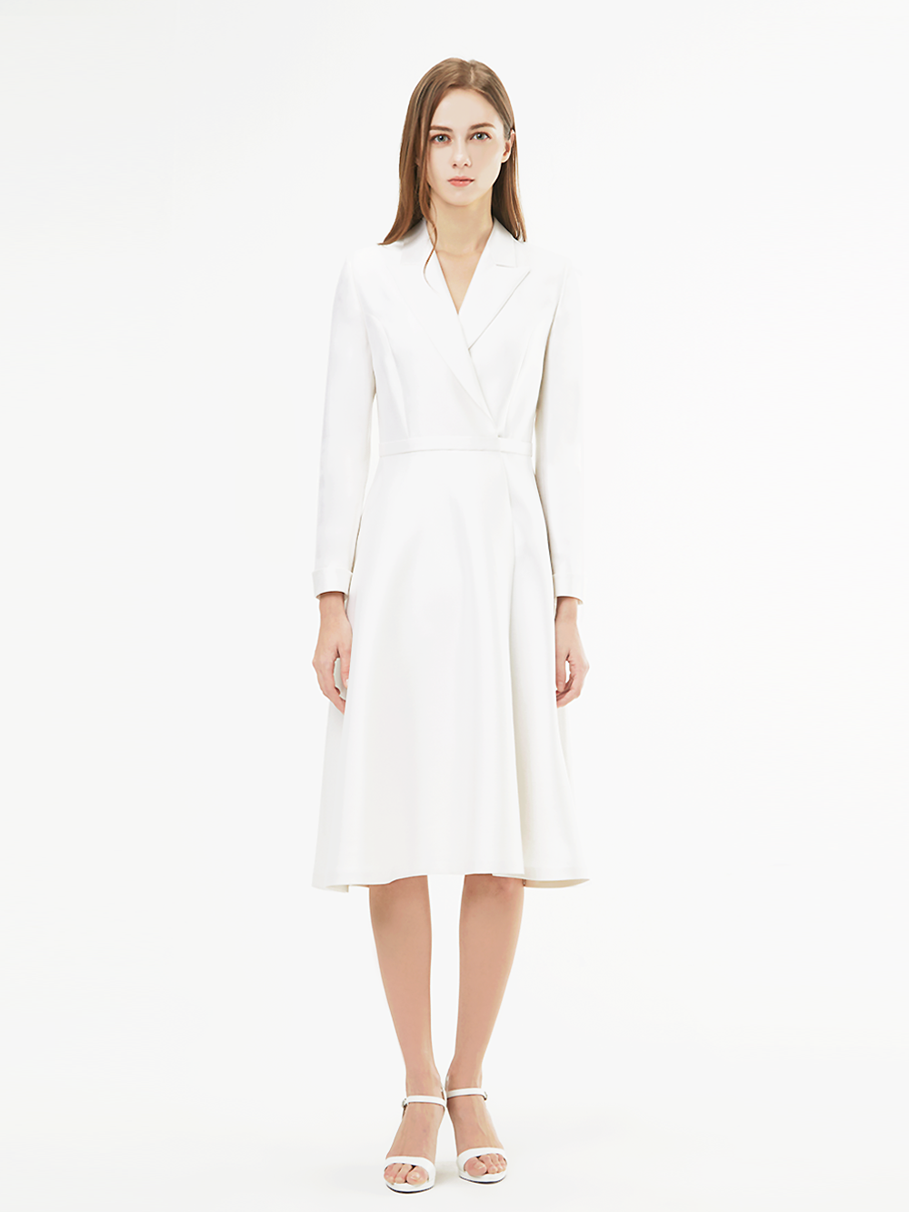 White Flare Belt Dress